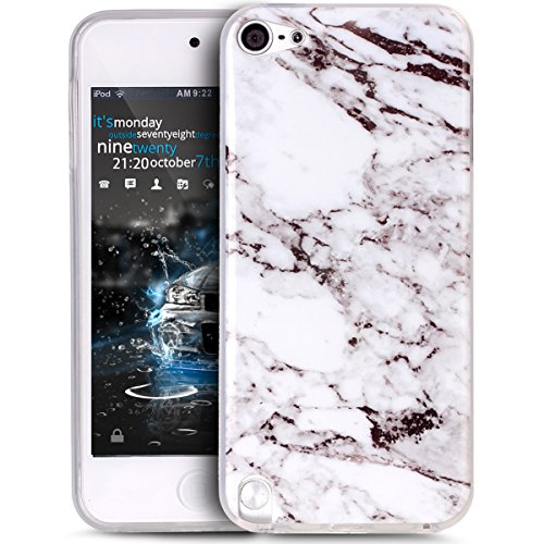 Cover iPod Touch 6,Cover iPod Touch 5,Custodia Cover per iPod Touch 6/5th,Lucido marmo texture pattern TPU morbida Custo per Sottile Bumper Case Custodia Cover per iPod Touch 6/5th,Bianco nero Marble