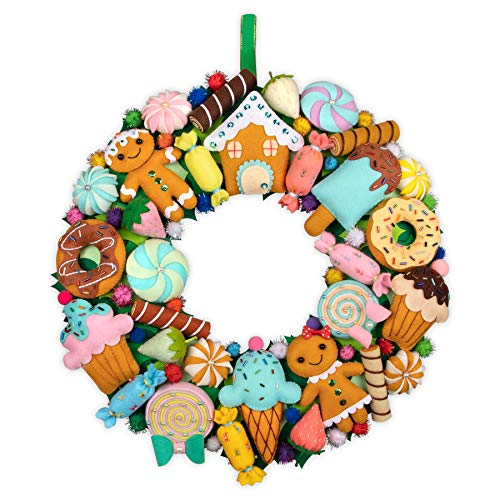 QKIYI Wreath Making Kit 16 inches Christmas Wreath Kit Felt Christmas Ornament Craft Kits for Teens 32 Fun Projects Felt Applique Wall Hanging of Christmas Ornament Kits Christmas Crafts for Adults