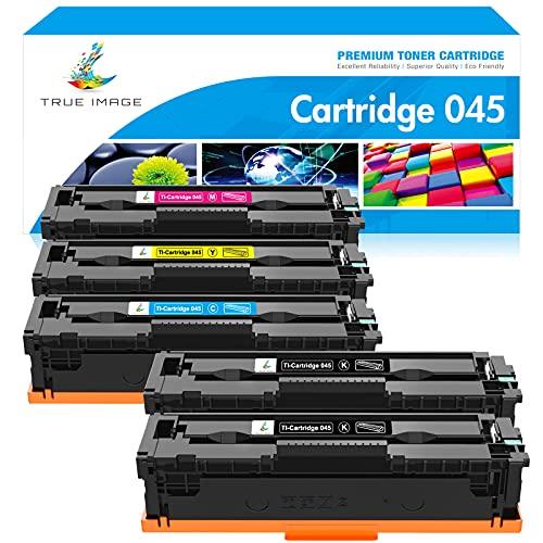 True Image Compatible Toner Cartridge Replacement for Canon 045 045H MF634Cdw Toner Canon ImageCLASS MF634Cdw MF632Cdw LBP612Cdw MF632 MF634 Toner Ink (Black Cyan Magenta Yellow, 5-Pack)