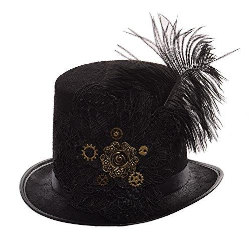 GRACEART Steampunk Parte Superior Sombrero Bordado Cordón Plumas (Muj