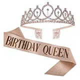 Birthday Sash and Tiara for Women, Rose Gold Rhinestone Crown with Combs Birthday Sash for Women Holiday Decorations
