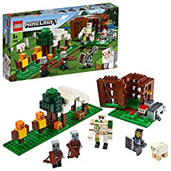 Features customizable 3-section: A tent with a table, Pillagers' cage and an archery practice area with dummies for archery practice Includes a Knight, Iron Golem with posable arms, Sheep and two Pillager action figures, plus two archery practise fig...