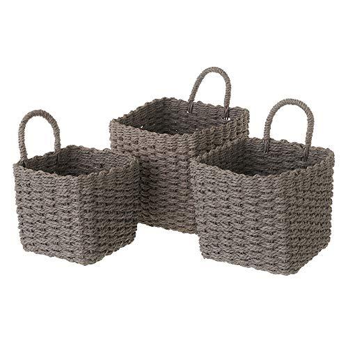 Set de 3 cestas de Fibra de Papel Grises cuadradas con asa - LOLAhome