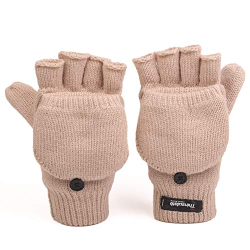 Flammi Men's Convertible Mittens Thinsulate Insulation Fleece Lined Warm Knit Half Fingerless Gloves with Mitten Cover (Khaki)