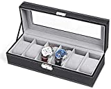 HAITRAL 6 Slot Leather Watch Box,Luxury Display Case Organizer,Watch Holder Boxes,Elegant Watch Box for Men and Women for Jewelry, Bracelets, Necklaces