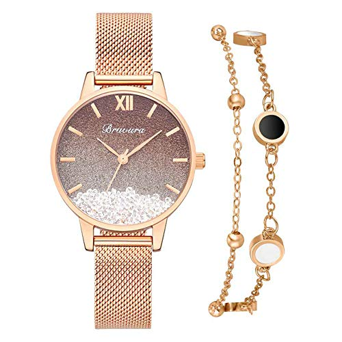 A/A EnShiShiDaNingZiShangMaoYouXianGon 2 unids/set banda de malla brillante Dial Relojes de cuarzo Pulsera de las mujeres (marrón oscuro)