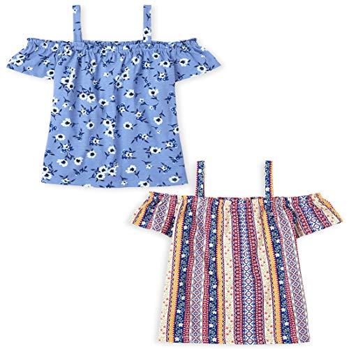 The Children's Place Camiseta con Hombros Descubiertos, para niñas, Paquete de 2, Azul Real Profundo, 10-12 Años