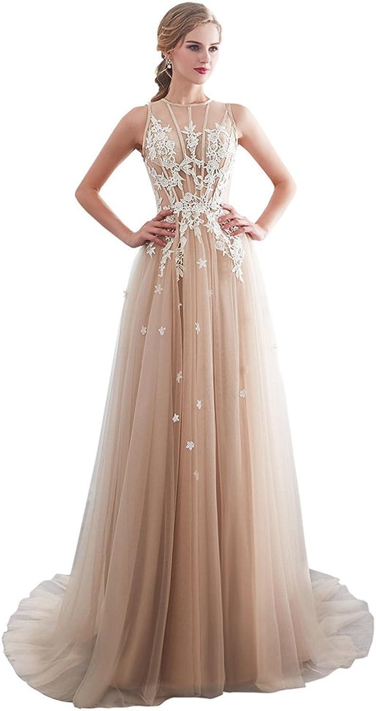 Elegant Lace Applique Evening Dresses Halter Floor Length Wedding Party Gowns