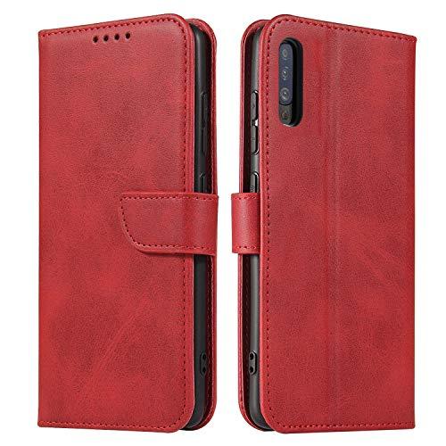 ANCASE Funda de Cuero Compatible con Huawei P20 Pro / P20 Plus Rojo con Tapa Libro PU Case Cover Completa Protectora Funda para Teléfono Piel Tarjetero Modelo