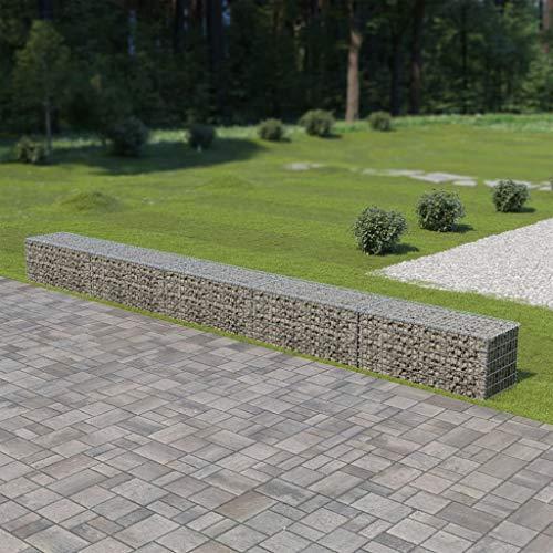 Tidyard Jardinera Exterior,Gaviones de Piedra,Muro de gaviones con Cubiertas Acero galvanizado 600x50x50 cm