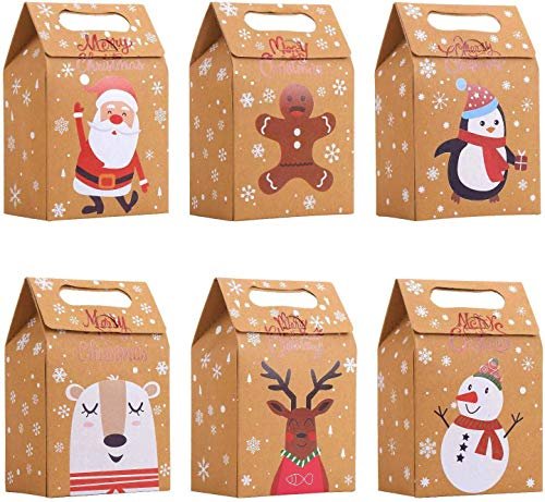 STEFORD Christmas Kraft Paper Gift Boxes,24PCS Christmas Candy Gift Treat Bags for Xmas Party Supplies