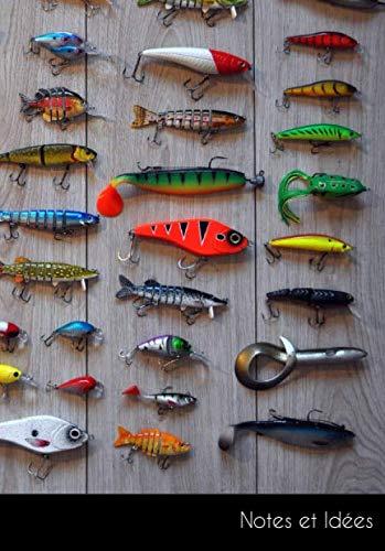 Notes et idées: Carnet de notes canne à pêche crochet poisson | format A5, petits carreaux. Durable et neutre pour le climat.