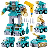 STEMEST Transform Cars 5 in 1 Robot Toys with Extra Electric Drill for Kids Gift - Building STEM Toy...