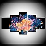 Tableau Murale Impression sur Toile Intissee 5 Parties,Fleurs d'oranger et papillons pour Moderne Art Home Déco Murale Cadeau de Noël Anniversaire 200x100 cm(sans Cadre)