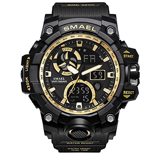JTTM Relojes Deportivos para Hombre con Pantalla LED De Moda Militar Militar Relojes De Los Hombres Casual Relojes Digitales,Black Gold