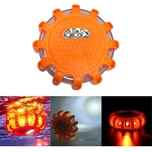 SUNTIRC LED-Blinkwarnleuchte Disc Safety Road Flares Light Notblitzlampe Magnetic Base & Anschluss 10 Blitzmodi wasserdicht Anti-Fahrzeug-Quetschung (Orange)