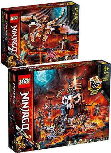LegoNinjago Lego Ninjago - Juego de 2 piezas 71718 71722 WUS de dragón peligroso + enrojecimiento del mago calavera