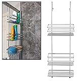 Organizador de baño de Taylor & Brown®, grande, cromado, con estantería de 3niveles, para almacenamiento, para colgar sobre una puerta