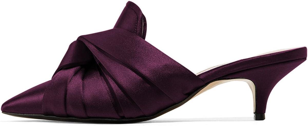 XYD Women Pointed Toe Mule Sandal Pumps Kitten Heel Slip On Slide Dress Slipper Shoes