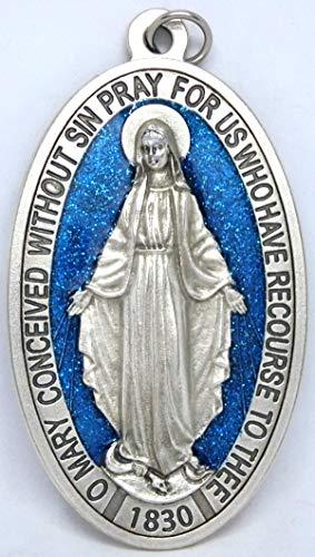 GTBITALY 60.836.31 milagrosa medalla Virgen María Milagrosa + logotipo oración en inglés plata medida 9 cm con purpurina esmaltada a mano