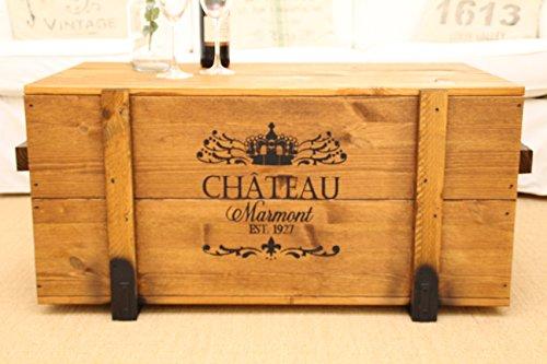 Uncle Joes Truhe Chateau Couchtisch Truhentisch im Vintage Shabby chic Style Massiv-Holz in braun mit Stauraum und Deckel Holzkiste Beistelltisch Landhaus Wohnzimmertisch