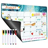Magnetic Calendar for Refrigerator - Dry Erase Fridge Magnetic Calendar with Blank Note Section, 16.9' x 11.8', Refrigerator Calendar with Pens/Markers, Fridge Calendar for Desk & Wall