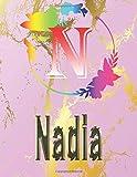 Nadia: Personalized Name Sketchbook.Monogram Initial Letter N Journal. Nadia Cute Sketchbook on Pink...