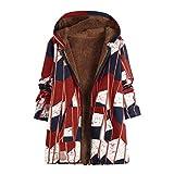 BOLANQ Damen Wintermantel große warme Retro-Mantel Blumendruck asymmetrische Kapuzenjacke
