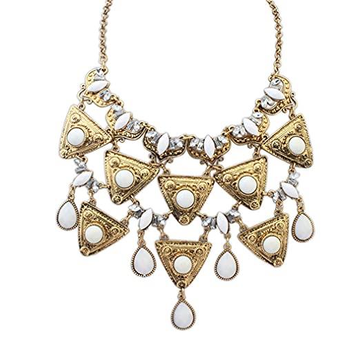 Collar de cuentas redondas triángulo mujeres niñas aleación exagerado collar colgante collares joyería fiesta
