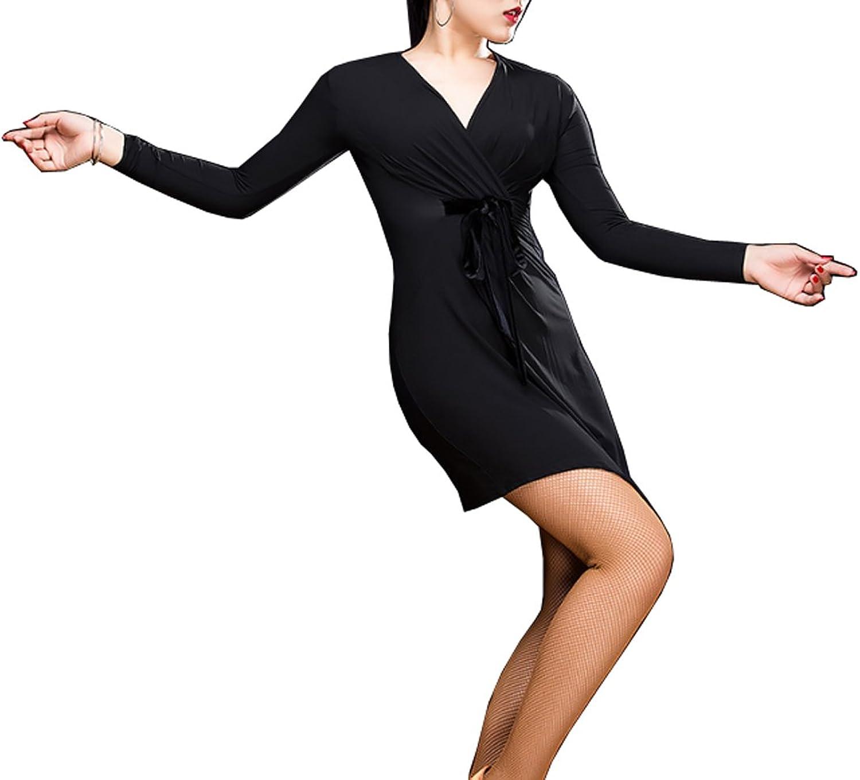 CHAGME V Collar Dress Latin Dance Dress Cha Cha Skirts Ballroom Skirt Waltz Skirt Rumba Dress Ballet Dress