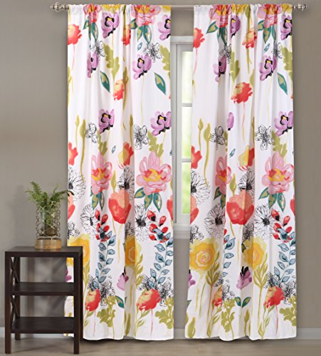 Greenland Home Watercolor Dream Curtain Panel Pair, 84-inch L, White