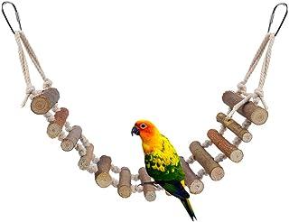 HEEPDD Puente de Las Aves, Escalera de Cuerda Natural Pájaros Juguete Loro Perchas Colgantes Jaula oscilante Accesorios Decoración Jaula Decorativa