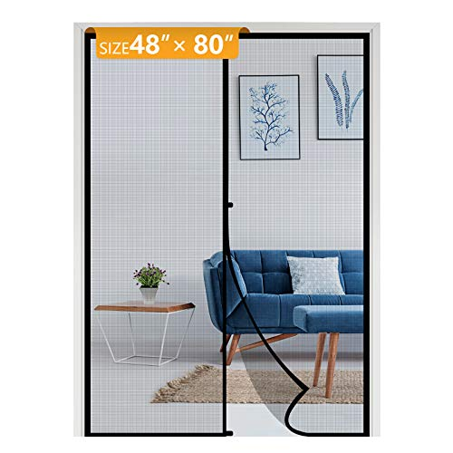 Yotache Hanging Magnetic Screen Door Fits Door Size 48 x 80, Mosquito Door Screen Magnet Fit Doors Size Up to 48'W x 80'H for Sliding Door