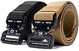 CQR Tactical Belt, Heavy Duty Belt, Military Style Nylon Webbing EDC Quick-Release Metal Buckle, 2pack Metal Buckle Black/Khaki, M[w32-34]