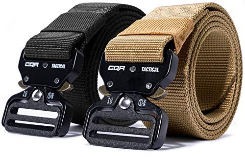 CQR Tactical Belt, Heavy Duty Belt, Military Style Nylon Webbing EDC Quick-Release Metal Buckle, 2pack Metal Buckle(mzt23) - Black/Khaki, M[w32-34]