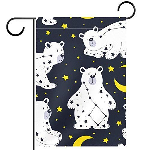TIZORAX Imobaby Sternbild Bär mit Mond Sternen Wasserdicht Polyester Stoff Gartenflagge 30,5 x 45,7 cm, Textil, multi, 28x40in