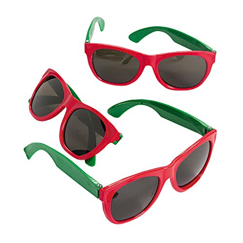 Fun Express Red and Green Christmas Sunglasses - 12 Pieces - Party Supplies