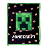 Minecraft Boys Fleece Throw Blanket - Blanket Lanyard and Pin Box Set - Official Black and Green Creeper Face Throw Blanket Lanyard and Pin Set (Black Creeper)