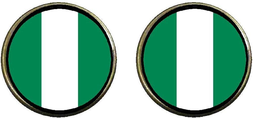 GiftJewelryShop Bronze Retro Style Nigeria flag Photo Clip On Earrings 14mm Diameter
