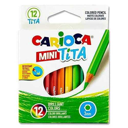 Carioca 42323 Lot de 12 mini crayons de couleur Tita avec mine résistante à la casse