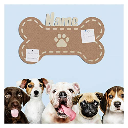 Namofactur Hunde-Knochen Geschenke für Hundebesitzer Hundefreunde Hundehalter Memoboard Hund mit Personalisierung in deiner Lieblingsfarbe
