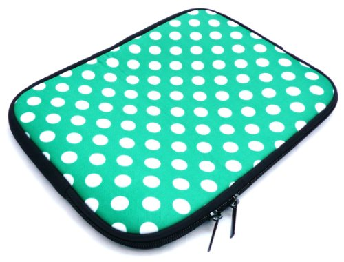 Emartbuy Polka Dots Green/White Water Resistant Neoprene Soft Zip Case Cover Sleeve suitable for Amazon Fire HD 7 Tablet (7 Inch eReader/Tablet/Netbook)
