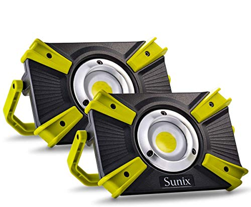 Sunix Projecteur LED, 30W 1600LM, lumière de Travail, Sécurité Rechargeable Work Light imperméable à l'eau IP64 avec Le Port d'USB de 5V 2.1 a et Le Mode de SOS