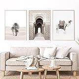 Leinwand Gemälde Kamel Marokko Tür Palmen in Sahara