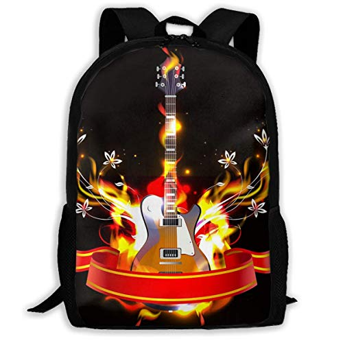 Hangdachang School Backpack Guitar in Fire Flames Bookbag Casual Travel Bag for Teenagers Boys Girls