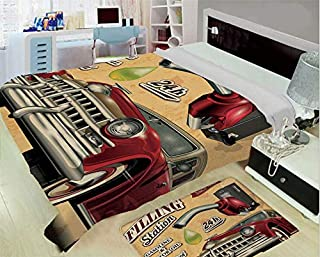 3-D Printing Fine Comfortable Flannel Blanket,Cars,Filling Station Gasoline and Oil Drawing with a Realistic Car Design Art Print Decorative,Sand Brown Red,One Side Printing,Excess Value
