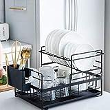 Sunficon Égouttoir à vaisselle amovible 2 Tier Noir