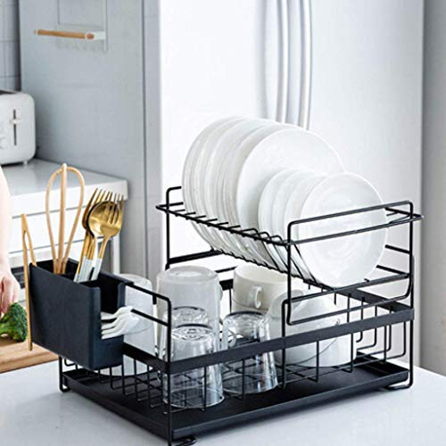 SUNFICON Dish Drainer Detachable Kitchen Drying Dish Rack Dual Layers with Drip Tray Utensil Holder Stylish and Well Made Countertop Dish Drying Rack Organizer Set,Prox 18.89''x11.61''x10.62''Black