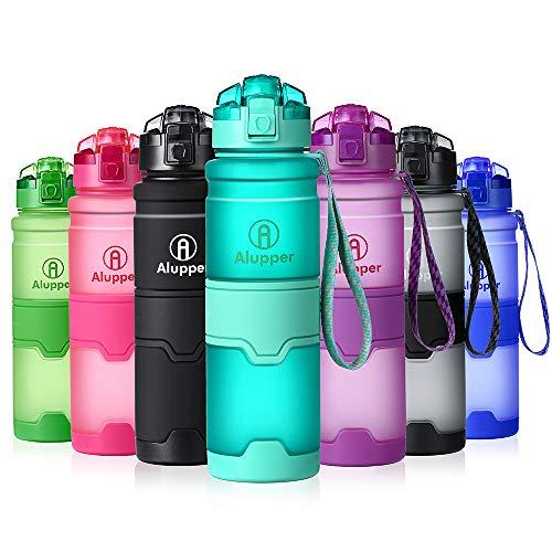 Botellas de Agua Prueba de Fugas Botellas Deportivas ecológicas Botellas Tritan sin BPA (Azul Claro, 17OZ-500ML)