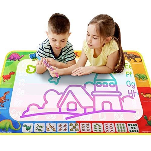 Alfombrilla de agua Magic Doodle (110 x 80 cm), alfombrilla de dibujo, alfombrilla de pintura mágica con agua, juguetes educativos y de aprendizaje para niños pequeños de 2 3 4 5 6 7 años o más